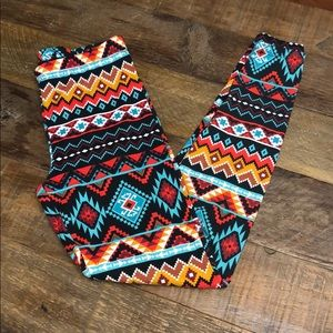 Pants - Women's Cotton Aztec Style Leggings